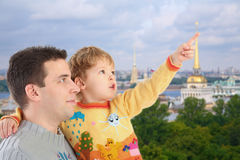 Father with son on St.Petersburg background Royalty Free Stock Photos