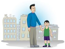 Father and son standing in the street Stock Photography