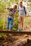 Father and son standing together on a bridge in a forest Royalty Free Stock Image
