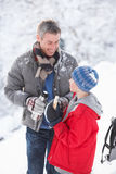 Father And Son Stopping For Hot Drink And Snack Royalty Free Stock Photo
