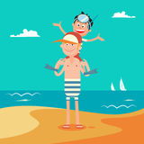 Father and Son on Summer Beach Vacation. Happy Family on the Sea. Vector illustration stock illustration