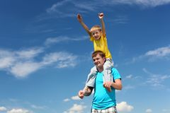 Father with son in summer day outdoors Stock Photos