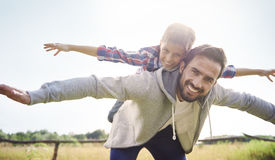 Father with son in the summer Stock Image