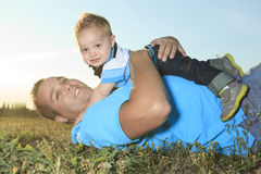 A father with is son at the sunset Stock Photography