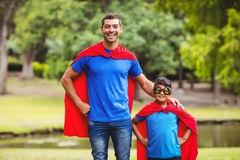 Father and son in superhero costume Royalty Free Stock Photography