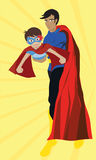 Drawing and Vector of Father and Son in Superhero costume Royalty Free Stock Photo