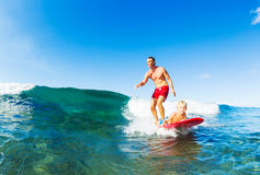 Father and Son Surfing Royalty Free Stock Image