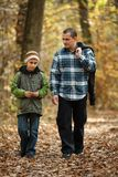 Father and son taking a walk outdoor Stock Photos