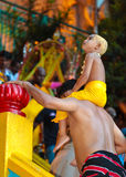 Father and son on Thaipusam pilgrimage Stock Photos