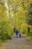 Father and son on their shoulders walk through the autumn park. Back view stock photo