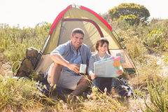 Father and son in their tent Stock Photography