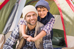 Father and son in their tent Royalty Free Stock Image
