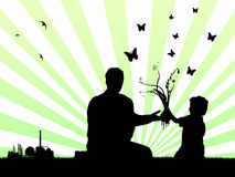Father and son to make a better world. Vector illustration as silhouette of a father and his son planting a flower in the ground just not far away from a factory Royalty Free Stock Image