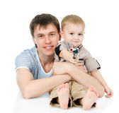 Father and son together. isolated on white background Stock Photography