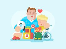 Father and son with toy. Child boy happy, childhood and smiling parent, playing dad. Vector illustration stock illustration
