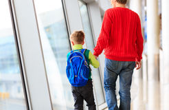 Father and son travel in the airport Stock Image