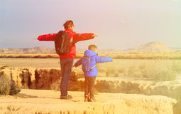 Father and son travel in scenic mountains Stock Photography
