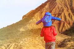 Father and son travel in scenic mountains Royalty Free Stock Images