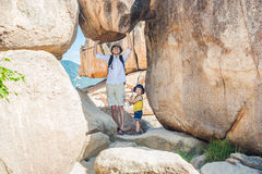 Father and son travelers at the Hon Chong cape, Garden stone, popular tourist destinations at Nha Trang. Vietnam Royalty Free Stock Photos