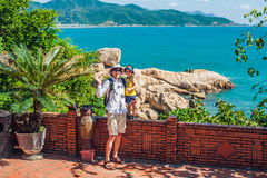 Father and son travelers look at Hon Chong cape, Garden stone, popular tourist destinations at Nha Trang. Vietnam. Asia Travel concept. Journey through Vietnam Royalty Free Stock Photo