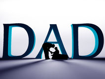 Father and son under large DAD text. Large 3D DAD text with a silhouette of a father helping to tie the shoe of his child Royalty Free Stock Photos
