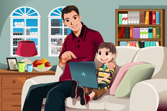 Father and son using computer. A vector illustration of a father and his son using a computer in the living room Stock Photography
