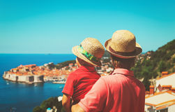 Father and son on vacation in Europe Royalty Free Stock Photography