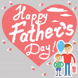 Father and son vector illustration for father day holiday postcard with lettering. Son and father with box and balloon. Stock Photos