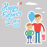 Father and son vector illustration for father day holiday postcard with lettering. Son and father with box and balloon. Stock Image