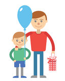Father and son vector illustration for father day holiday  on white background. Son and father with box and balloon. Stock Photography