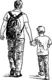 Father and son. Vector image of the father and his son at walk Royalty Free Stock Images