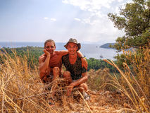 Father and son. View to Phaselis bay - Çamyuva, Kemer, coast and beaches of Turkey Royalty Free Stock Image