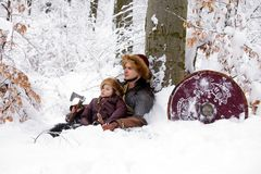 Portrait strong viking warrior winter woods battle scandinavian traditional clothing lumberjack chain mail leather spear deep fore. Father and son Vikings in a Stock Photo