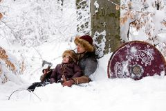 Portrait strong viking warrior winter woods battle scandinavian traditional clothing lumberjack chain mail leather spear deep fore. Father and son Vikings in a Stock Photos