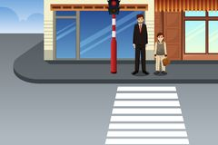 Father and Son Waiting at Traffic Light Illustration royalty free stock photo