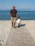 Father and son on a walk Royalty Free Stock Photo
