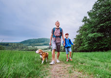 Father with son walk on mountain hills Royalty Free Stock Photos