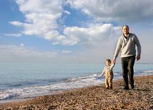 Father and son walking Stock Photos