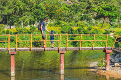 Father and son are walking along the bridge over the pond. Traveling with children concept stock photo