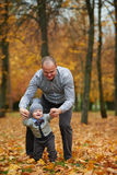 Father with son walking in autumn forest Royalty Free Stock Photos
