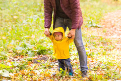 Father and Son walking. Baby taking first steps with father help in autumn garden in the city Royalty Free Stock Photos