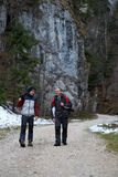 Father and son walking outdoor Stock Photos