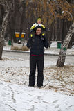Father and son walking  in winter park Stock Photography