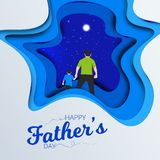 Father and son watching the blue sky view from hands. Happy Father`s Day Calligraphy greeting card. Vector illustration. Father vector illustration