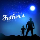 Father and son watching the night blue sky view from hands. Happy Father`s Day Calligraphy greeting card. Vector Illustration. Sil. Houette stock illustration
