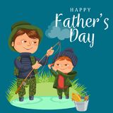 Father and son water fishing holding rod and bucket full fish, family kids vacation happy fathers day, dad with child. Father and son water fishing holding rod Royalty Free Stock Photography