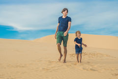 Father and son at the white desert. Traveling with children conc royalty free stock photography