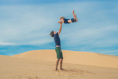 Father and son at the white desert. Traveling with children concept royalty free stock photography