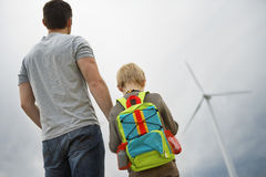 Father And Son At Wind Farm Stock Photography
