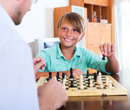 Father and son winning game Royalty Free Stock Photos